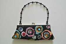 Small Black Multicolor Dots Jeweled Evening Clutch Handbag, 4 x 10 in, 8 in drop