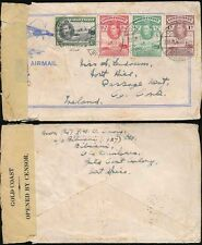 GOLD COAST to IRELAND 1940 CENSORED AIRMAIL ILLUST ENV 4 COLOUR FRANKING BIBIANI