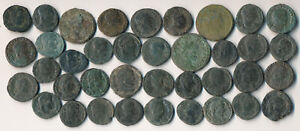 38 ANCIENT ROMAN COPPER UNCLEANED COINS (WORTHWHILE BIG LOT !!!) NO RESERVE