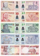 Nigeria 5 + 10 + 20 + 50 + 100 Naira Set of 5 Banknotes 5 PCS UNC