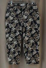 Covington Stretch, Size 10, Black Leaf Pattern Denim Capri
