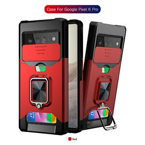 For Google Pixel 6 / 6 Pro 5A Ring Stand Card Slot Wallet Shockproof Bumper Case