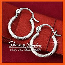 18k White Gold GF E276 Silver Twist Hoop Huggies Sleeper Solid Womens Earrings