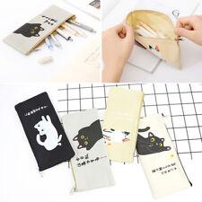 Canvas Cartoon Cat Storage Bag Pen Pencil Box Case Pouch Stationery School Cute