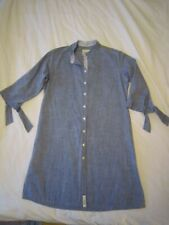 BNWOT JILL McGOWAN CHAMBRAY SHIRT DRESS  XS  uk 8-10  denim mandarin grandad
