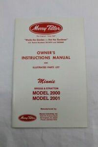 Merry Tiller Owner's Instructions Manual & Illustrated Parts List Minnie 2000 1
