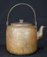 Antique bronze Yakan floral kettle hand made Japan craft 1890s Ceremony Japanese