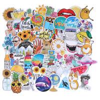 53Pcs Summer light yellow stickers DIY scrapbook suitcase laptop guitar stick HO