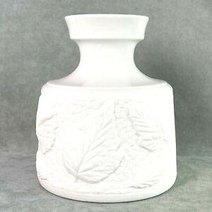 Ceramic Porcelain Vase White Bisque Leaves #15/1090 Bavaria Germany Schumann