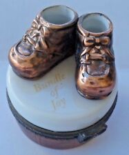 PHB Collection BRONZE tone BABY SHOES TRINKET BOX Bundle of Joy