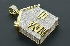 14K Yellow Gold Fn Hip Hop Atlanta Trap House Iced out Pendant Round Cut Diamond