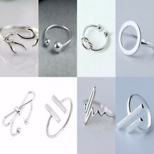 Simple 925 Sterling Silver Adjustable Rings   Minimalist Plated Womens Band NEW
