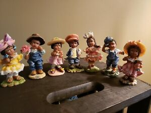 """Vintage African American children K's Collection lot of (7) 4"""" figurines"""