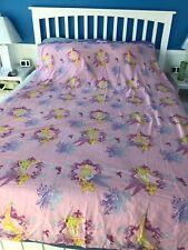 Vtg Disney Tinkerbell Twin Flat Sheet Tinker Bell Pink Lavender Purple Blue Euc