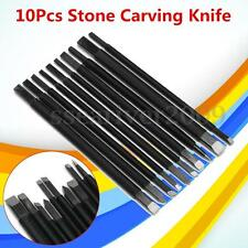 10Pcs Steel Hand Chisel Set Stone Carving Knife Artist Blade Woodworkers Tools