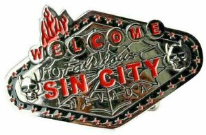 welcome TO Fabulous SIN CITY nevada Belt Buckle Chrome and Red Skulls Cacti