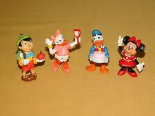 """New listing Vintage Toy 4 Disney Applause 2"""" High Donald Daisy Duck Minnie Mouse Pinocchio"""