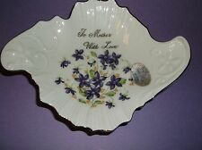 VINTAGE NORCREST TRINKET DISH~NWT~MA 501~VIOLETS,, GOLD GILT~TO MOTHER WITH LOVE