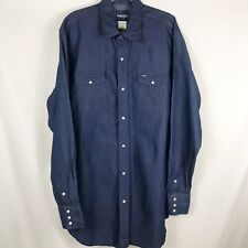 "fd74f020de Wrangler Men s 17 1 2"" x 37"" Tall Western Shirt Rigid Denim Pearl"