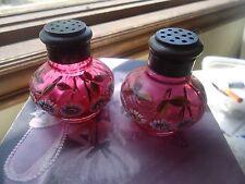 Mount Washington cranberry thumbprint floral small glass salt & pepper shakers