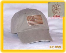 ARMY Airborne Special Forces OPERATIONS GREEN BERET DESERT FLAG + CREST CAP HAT