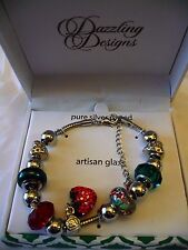 Silver Plated Bracelet With Artisan Glass Strawberries NEW Dazzling Designs