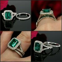 3Ct Emerald Cut Green Emerald Bridal Set Engagement Ring 14K White Gold Finish