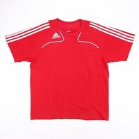 Vintage ADIDAS Red & White Embroidered Logo Sports T-Shirt Size Men's Large