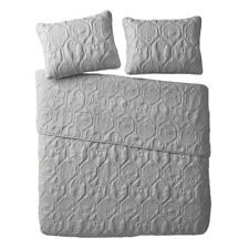 VCNY Home Shore Gray 3 Piece Reversible Bed Quilt and 2 Pillow Shams Set, King