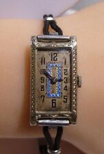 Art Deco 18k White Solid Gold Filigree Gothic Fine Watch Blue Laminate 15 Jewels