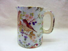 British birds on blue chintz cream jug pitcher jug by Heron Cross Pottery