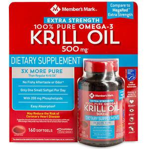 Member's Mark Extra-Strength 100% Pure Omega-3 Krill Oil 500mg 150 Softgel 09/22