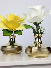 Pair of Brass Flower Vases 2.5 in (6.35 cm) Tall