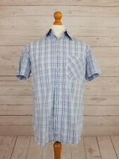 Next Men's Cotton Short Sleeve Check Shirt - Size M - Blue + White - UK