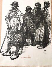 """Téophile Alexandre Steinlen """"Les soldats et une femme"""" lithographie originale"""
