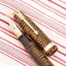 NEW w/TAG Vintage PARKER VACUMATIC Major BLUE Diamond GOLD Striped Fountain Pen