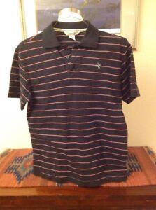 Paul Frank Men's Short Sleeve Polo Shirt, Black/Pink Stripped, Size S, EUC