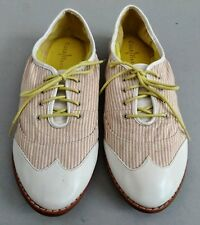 Cole Haan Kody Women's White Sand Striped Oxford Shoe Sz 10B MSRP $429.79 NEW