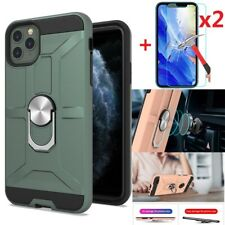 For iPhone 11 11 Pro Max Case With Magnetic Ring Holder Stand + Screen Protector