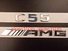 2018 Flat Chrome Letters Trunk Emblem Badge Sticker for Mercedes Benz C55 AMG