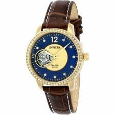 Invicta женские objet D арт-коричневой кожи, автоматика, синий циферблат аналоговые часы 22621