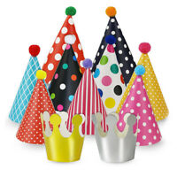 DIY Party Hats for Kids Paper Birthday Party Decor 11 Pack (9 Hats and 2 Crowns)