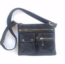 Fossil Sutter Black Leather Medium Cross Body Messenger Bag Purse Handbag