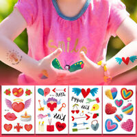 Temporary Rainbow Heart Tattoo Sticker Face Hand Kids Body Art Waterproof Decal