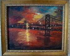 Edmond D California BAY BRIDGE SF Oakland Vtg Oil Painting DUSK Framed 20 x 24