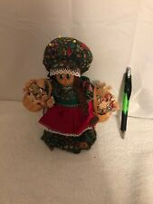"""8"""" Tall Adorable Vintage Wooden Bell Doll Holding Baskets of Dried Flowers"""