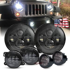 """7'' Round LED Headlights Signal Turn Light 4"""" Fog Lamp for Jeep Wrangler JK 07+"""