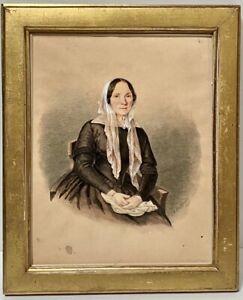 JOSEPH MARTIGNONI 19th Century Original Watercolor Gouache Portrait Fine Lady