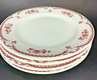 "4 Shenango 9 3/4"" Dinner Plates China Chardon Rose Red Restaurant Ware"