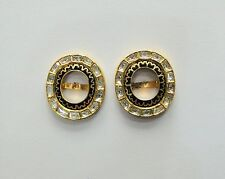 Vintage solid 18K Gold jewelry Diamond polki enamel work Earring pair india